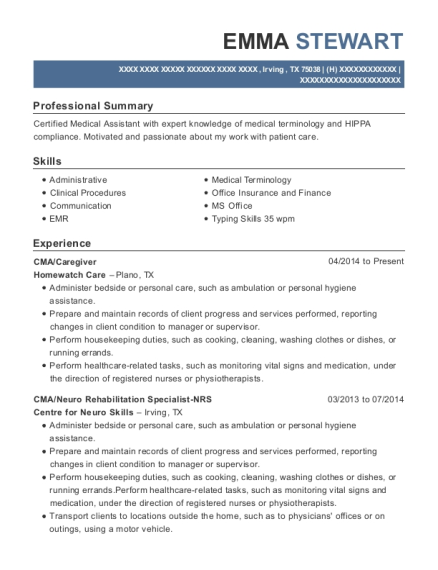 CMA resume example Texas