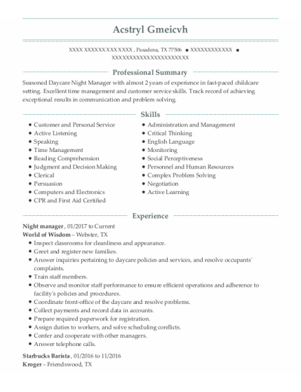 night manager resume example Texas