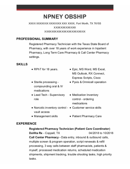 Registered Pharmacy Technician resume sample Texas