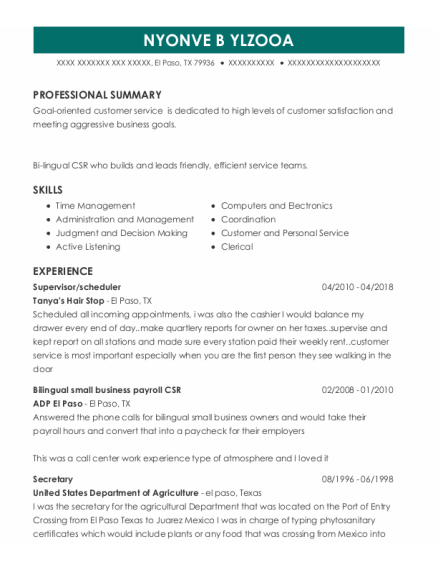 Supervisor resume example Texas