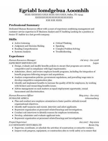 Human Resources Manager resume template Texas