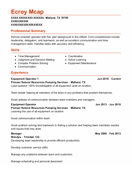 Equipment Operator 1 resume example Texas