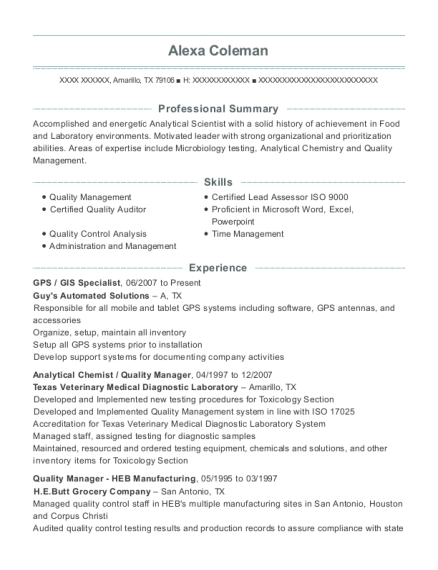 GPS resume sample Texas