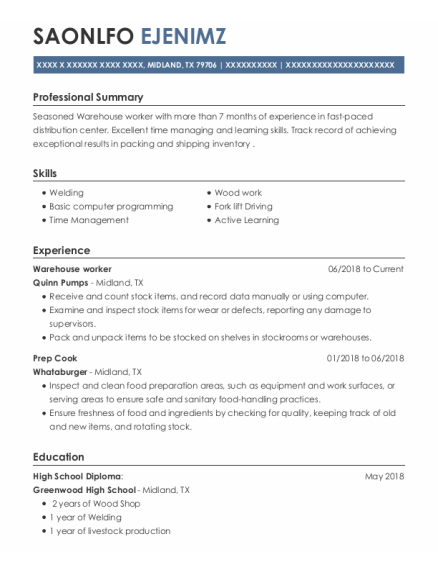 Warehouse worker resume format Texas