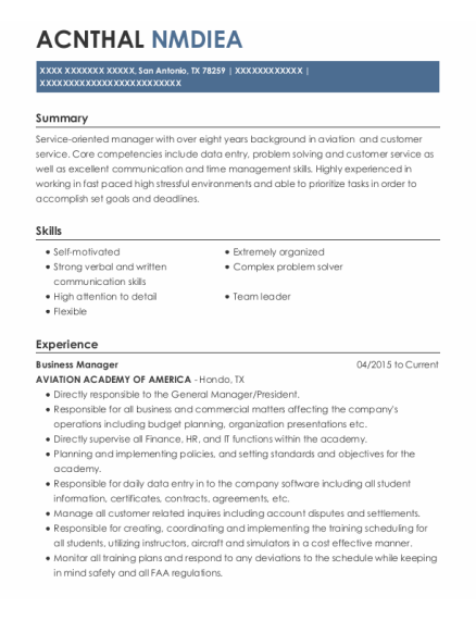 Business Manager resume format Texas