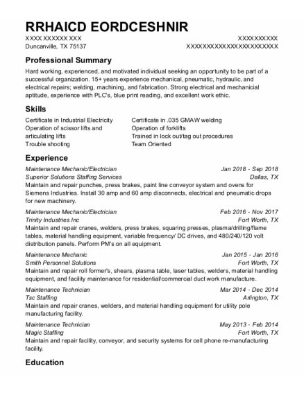 Maintenance Mechanic resume template Texas