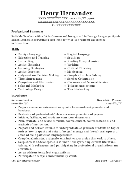 German teacher resume template Texas