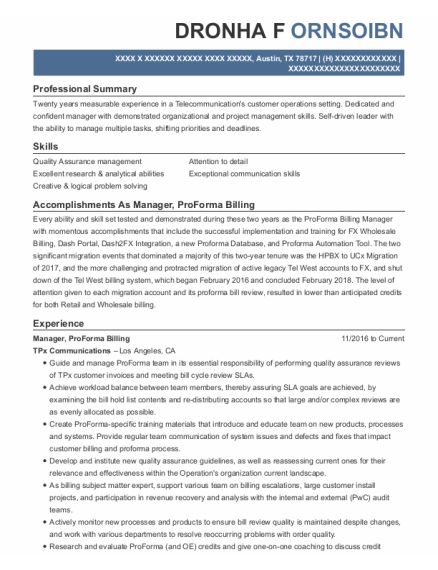 Manager resume example Texas