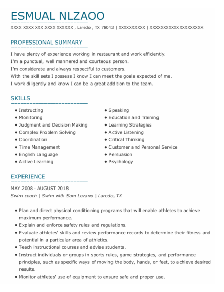 Swim Coach resume format Texas
