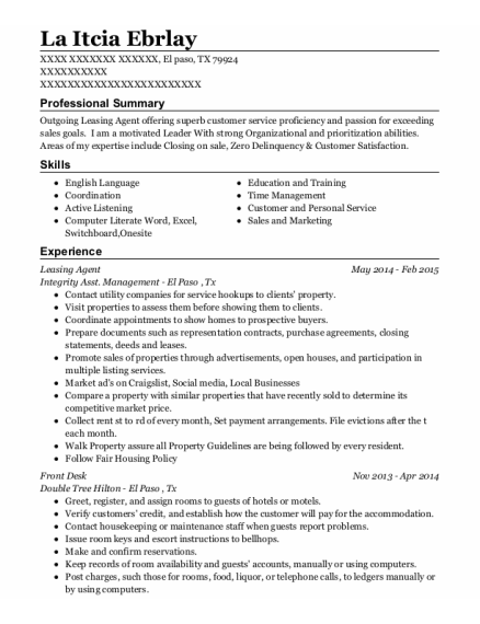 Leasing Agent resume sample Texas