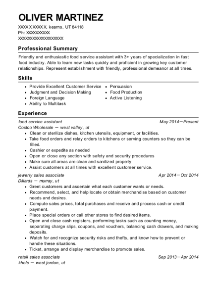 food service assistant resume example Utah