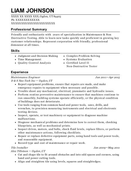 Maintenance Engineer resume format Utah