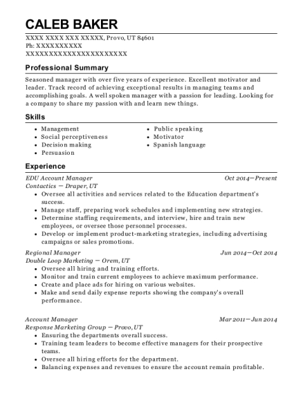 EDU Account Manager resume sample Utah