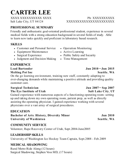Lead Bartender resume template Utah