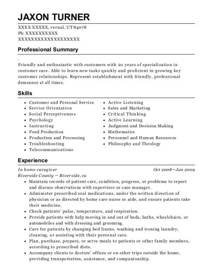 In home caregiver resume example Utah