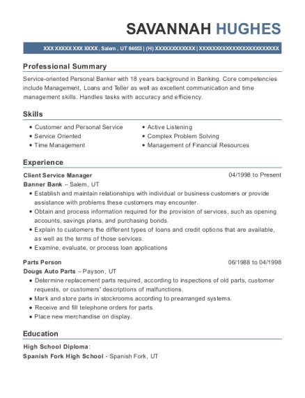 Client Service Manager resume example Utah