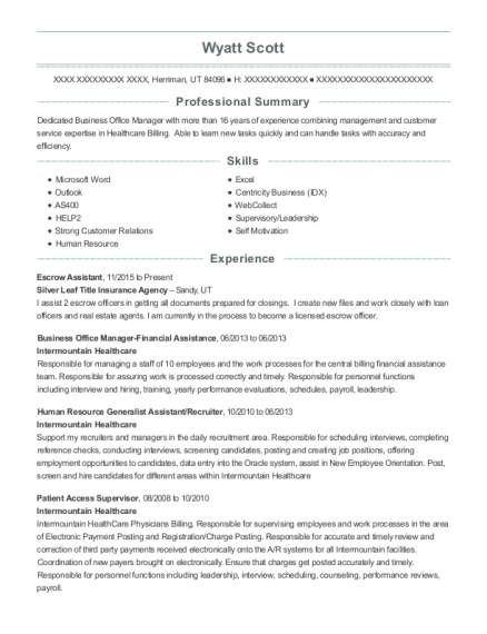 Escrow Assistant resume template Utah