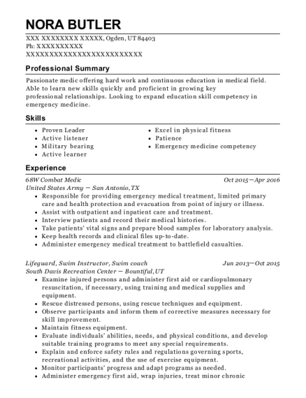 Us Army 68w Combat Medic Resume Sample Windsor North