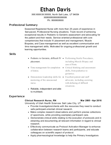 Clinical Research Nurse resume template Utah