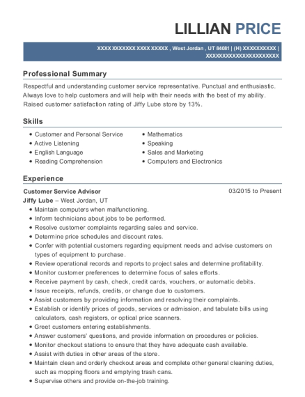 Customer Service Advisor resume template Utah