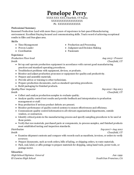 chassix quality floor inspector resume sample