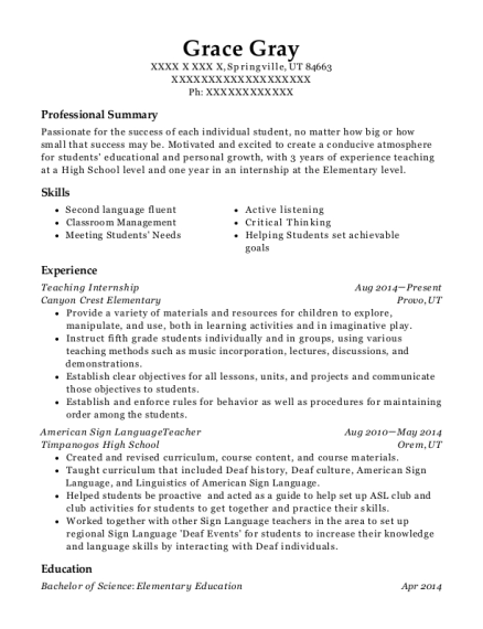 Teaching Internship resume format Utah