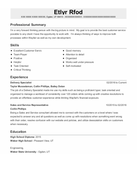 Delivery Specialist resume template Utah