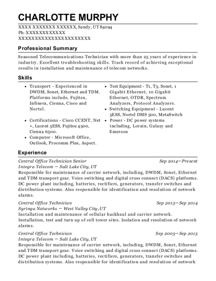 Central Office Technician Senior resume example Utah