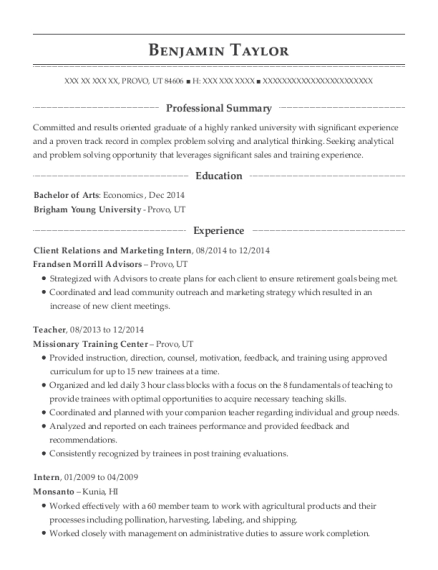 Client Relations and Marketing Intern resume example Utah
