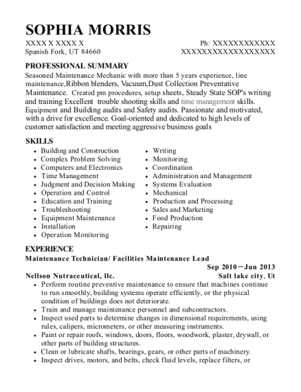 Maintenance Technician resume sample Utah