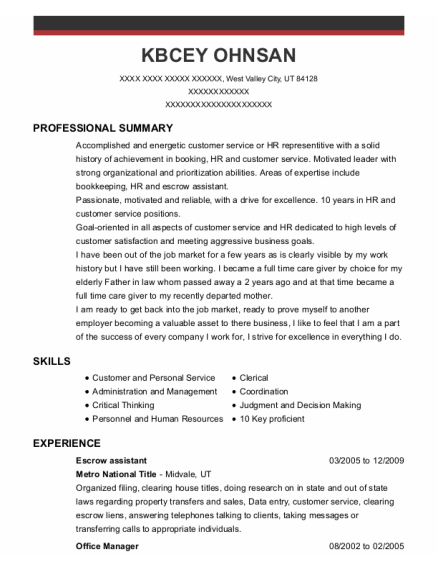 Escrow Assistant resume example Utah