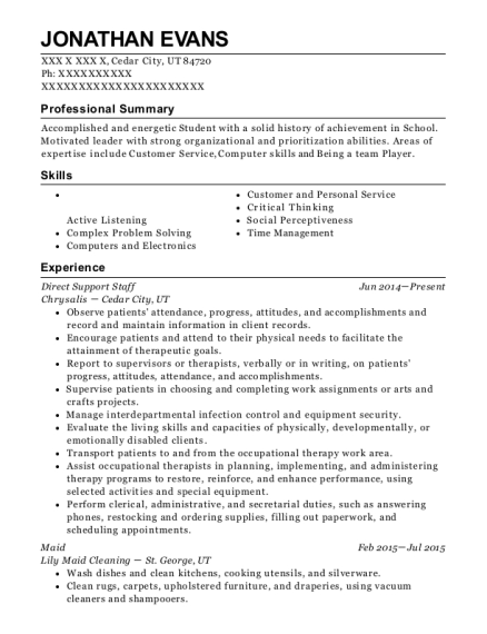 Direct Support Staff resume template Utah