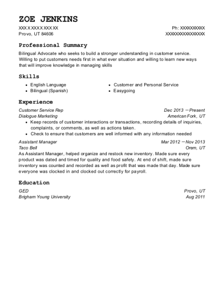 Customer Service Rep resume sample Utah
