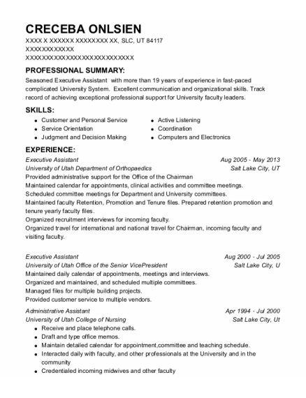 Executive Assistant resume format Utah