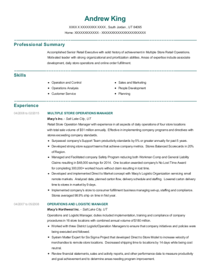 MULTIPLE STORE OPERATIONS MANAGER resume sample Utah