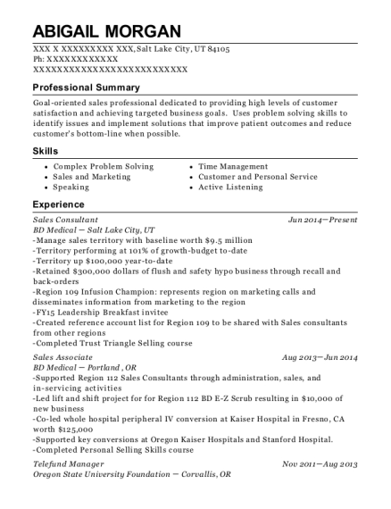 Sales Consultant resume sample Utah