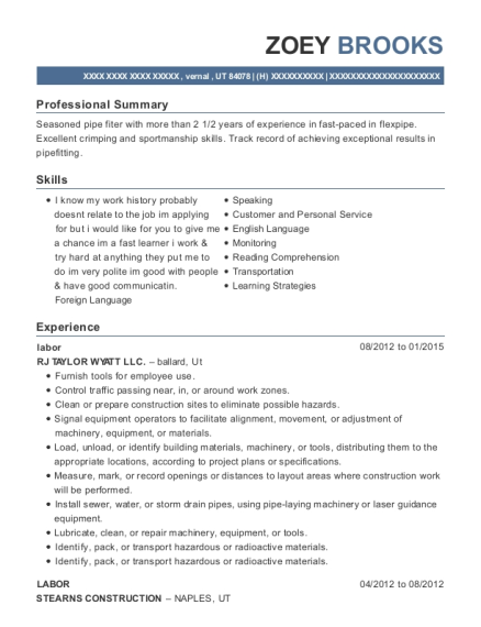 labor resume sample Utah