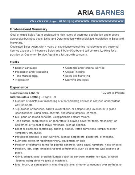 Construction Laborer resume sample Utah