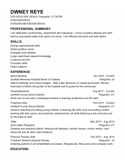 Board Member resume template Utah