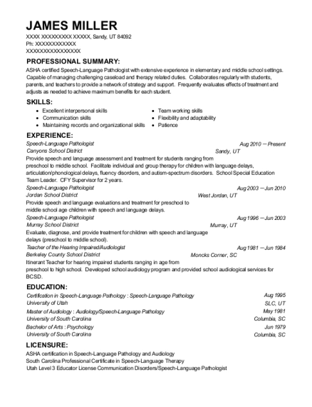 Speech Language Pathologist resume sample Utah