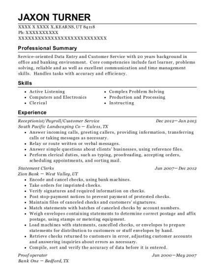 Receptionist resume template Utah