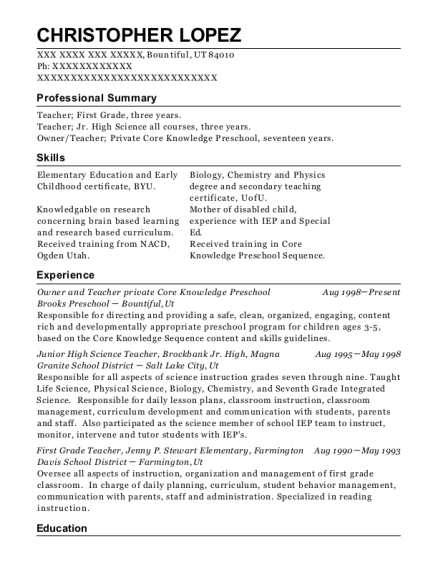 Owner and Teacher private Core Knowledge Preschool resume sample Utah