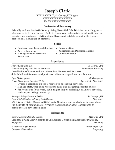 Interirscaping and Maintainance resume format Utah