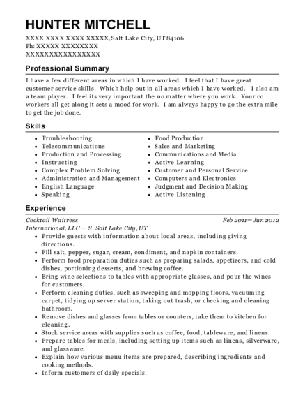 Cocktail Waitress resume example Utah