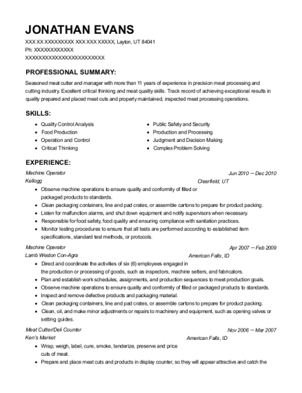 Machine Operator resume sample Utah