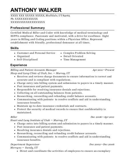 Billing and Patient Accounts Manager resume format Utah