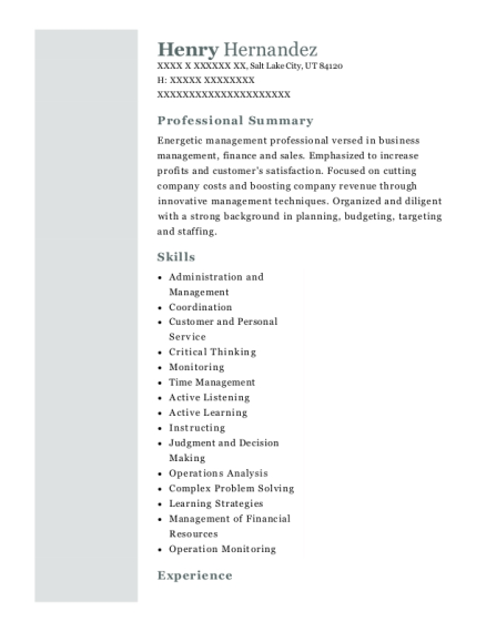 kfc restaurant general manager resume sample