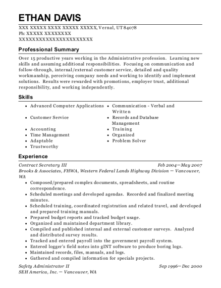 Contract Secretary III resume template Utah