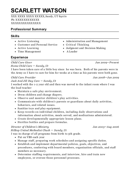Child Care Giver resume sample Utah