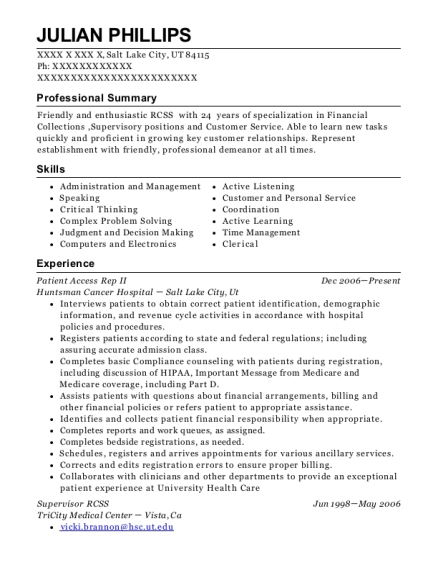 Patient Access Rep II resume sample Utah